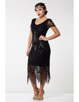 Gatsby 1920s Black And Gold Beaded Evening Dress
