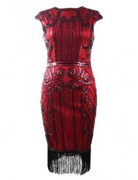 1920s Gatsby Burgundy Red and Black Sequin Evening Dress H36