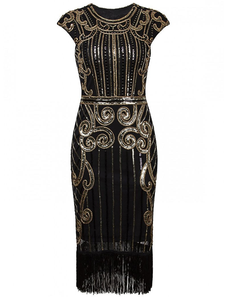 1920s Gatsby Black Gold Sequin Evening Dress H9
