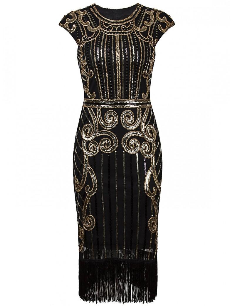 1920s Gatsby Black Gold Sequin Evening Dress H9