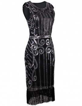 1920s Gatsby Black Silver Sequin Evening Dress H8