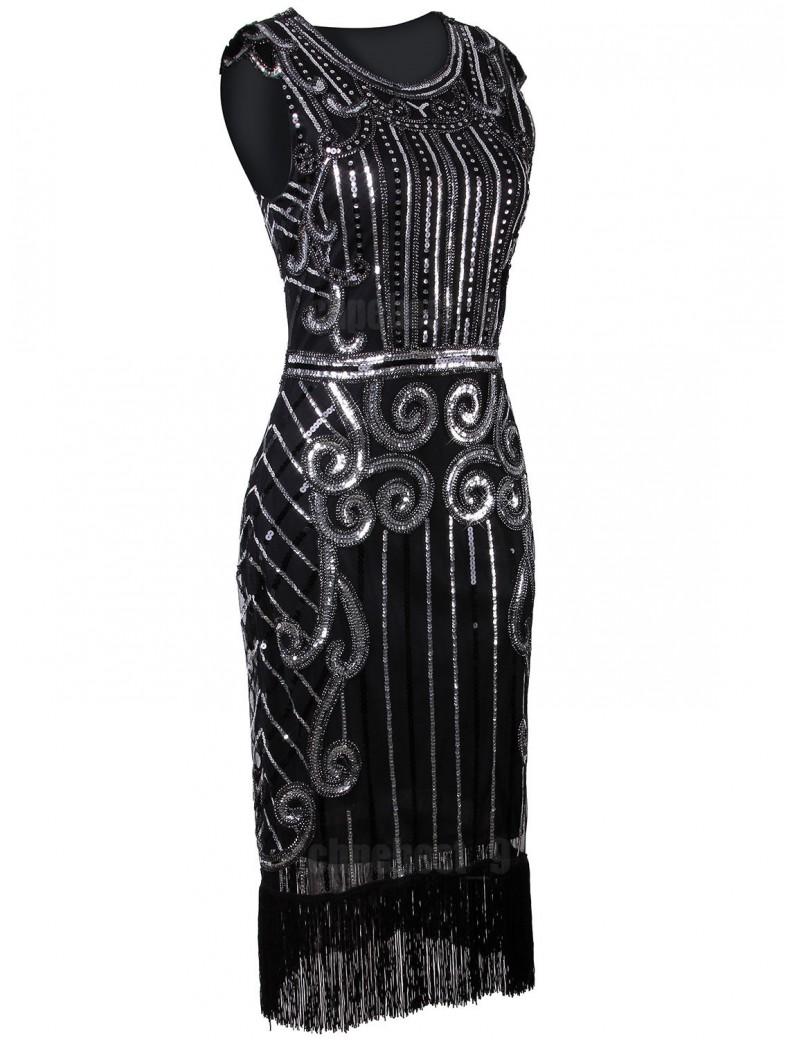 1920s Gatsby Black Silver Sequin Evening Dress H8
