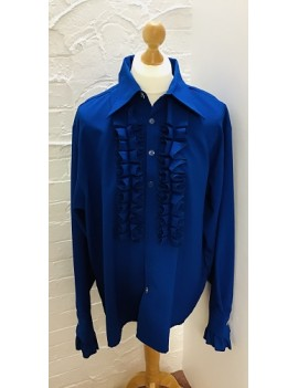 70s Frilled Shirt Blue