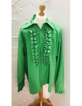 70s Frilled Shirt Green