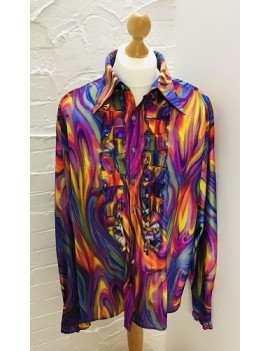70s Frilled Shirt Multi Coloured Swirl