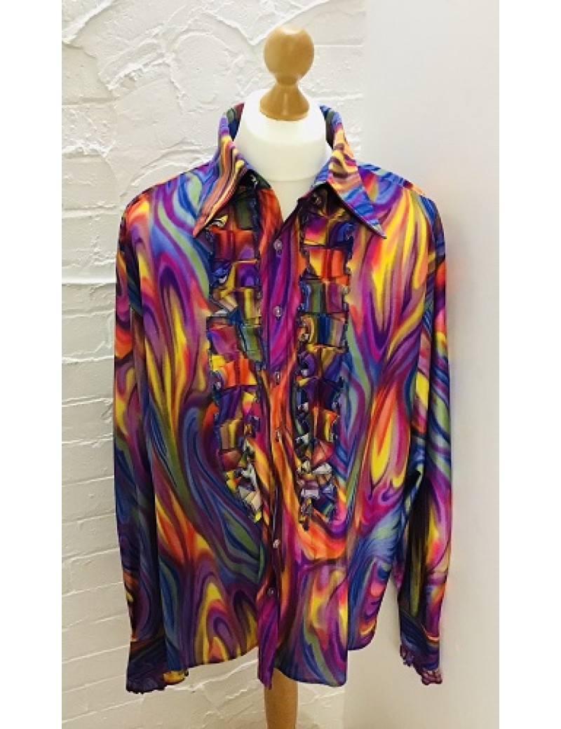 70s Frilled Shirt Multi Coloured Swirl