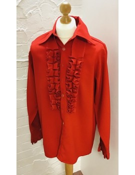 70s Frilled Shirt Red