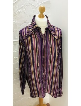 70s Shirt Purple Beige Stripe