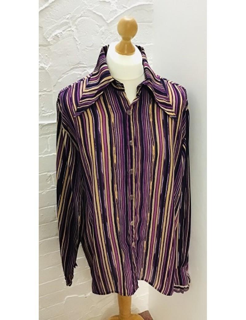 70s Shirt Purple Beige Stripe