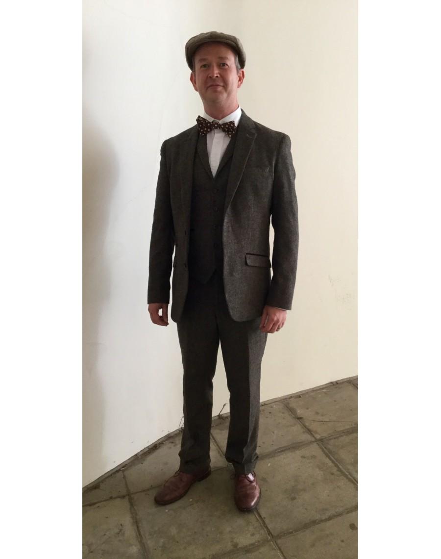 suit tweed brown 3 piece peaky blinders costume hire. Black Bedroom Furniture Sets. Home Design Ideas