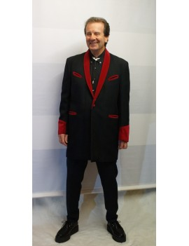 1950s Teddy Boy Suit Black And Burgundy Red DH15