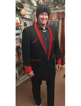 1950s Teddy Boy Suit Black And Burgundy Red DH29