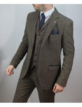1920s Peaky Blinders style Martez  3 piece Brown  tweed mens Goodwood 1940s  suit hire  Medium
