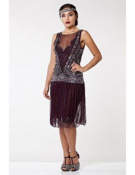 1920s Gatsby Plum Silver Sequin Evening Dress Elaina H9A
