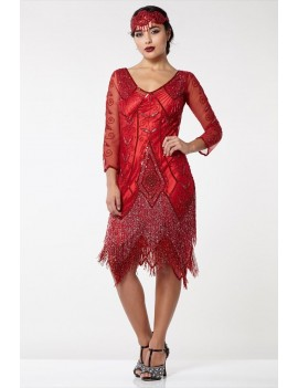 1920s Gatsby Red Beaded Evening Dress Scarlett
