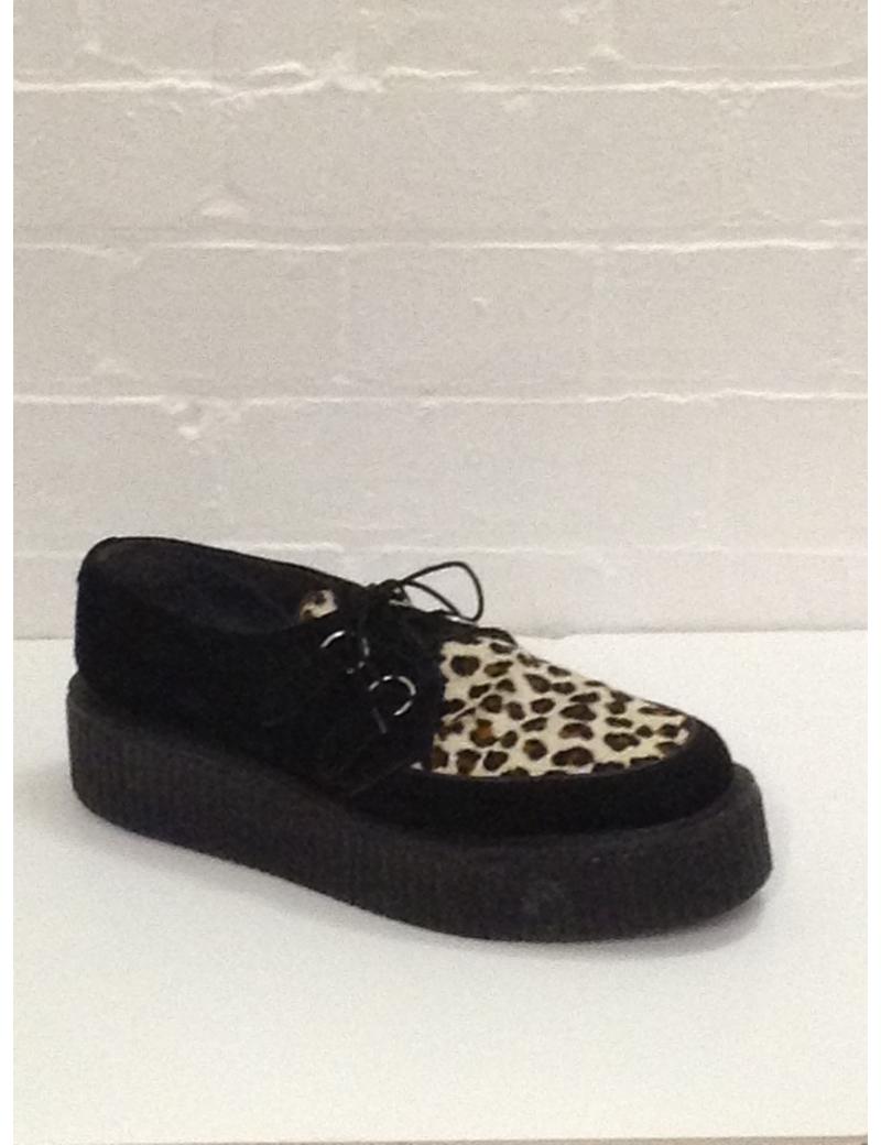 1950s Crepe Shoes Black Leopard Check Print Fantasy Shoes UK 10
