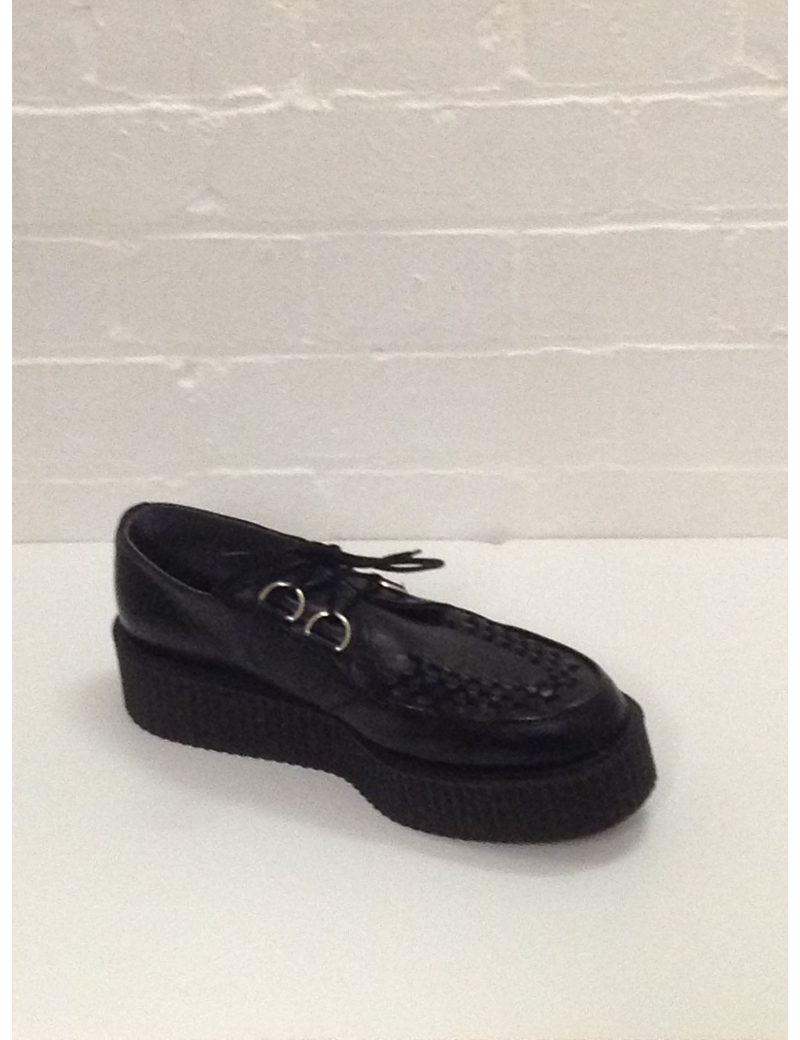 1950s Crepe Shoes Black Leather Fantasy Shoes UK 4 and 9