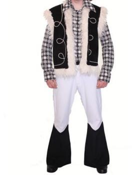 1960s  70s Mono black and white mens retro costume Make Believe AD23