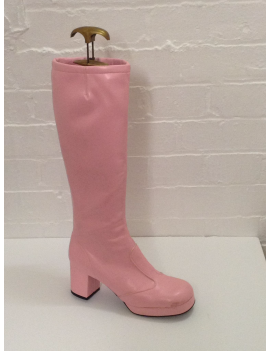 1960s biba leather plain pale pink ladies girls Zip Up hire long boot Fantasy Shoes UK 6