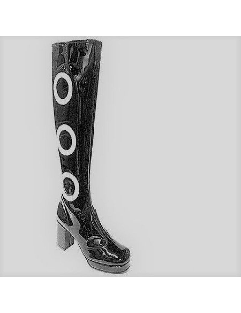 1960s Biba Black White Circle Patent Boots Fantasy Shoes