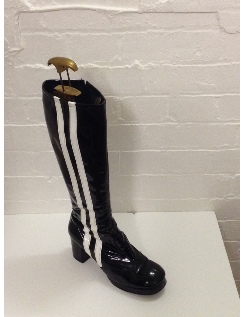 1960s Biba Black And White Stripe Patent Boots Fantasy Shoes 8