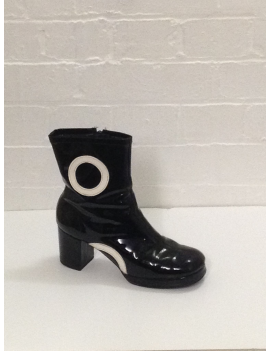 1960s patent biba black with white circle ladies girls Zip Up hire ankle boot Fantasy Shoes 6