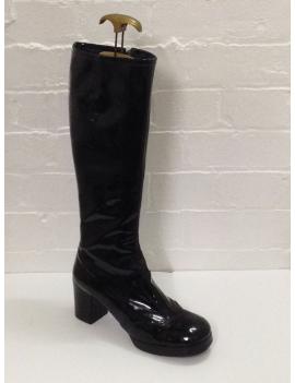 1960s patent biba plain black ladies girls Zip Up hire long boot Fantasy Shoes UK 7