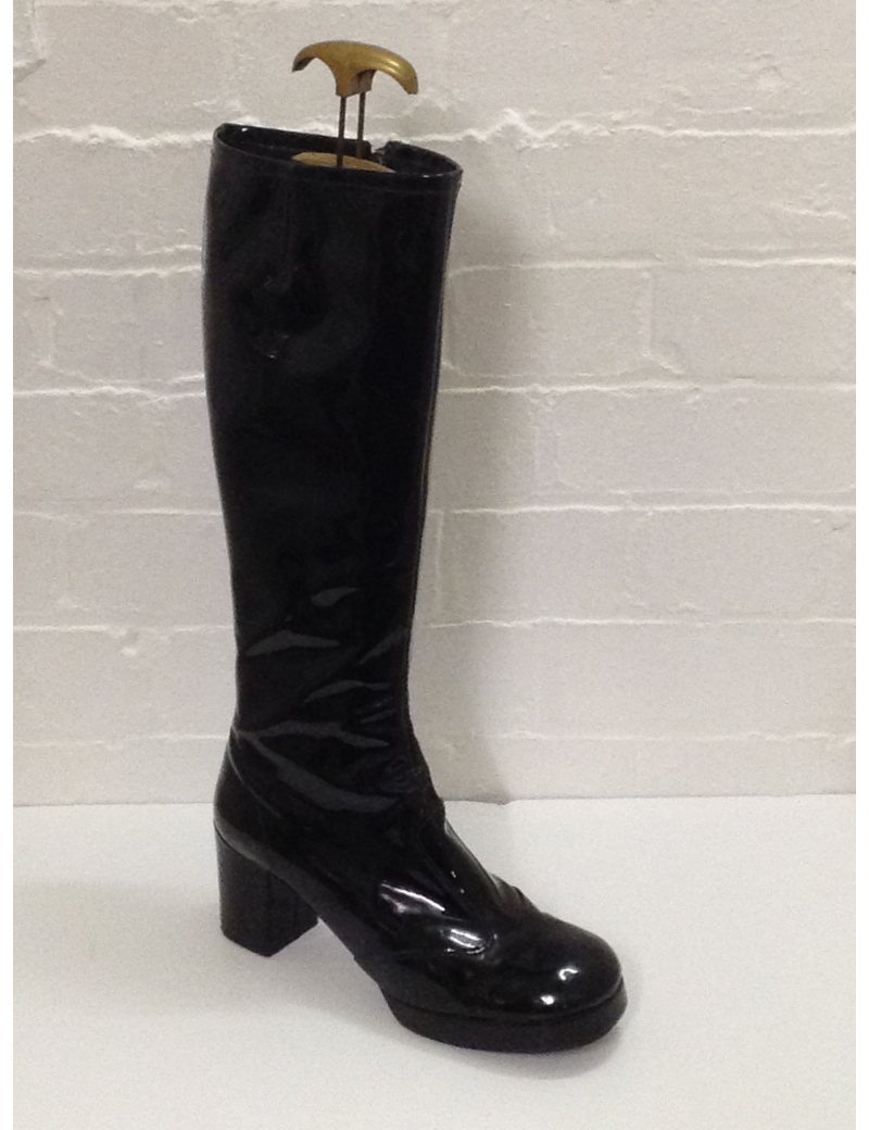 1960s patent biba plain black ladies girls Zip Up hire long boot Fantasy Shoes UK 7