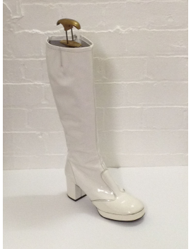 1960s Biba White Patent Boots Fantasy Shoes UK 6 or 7