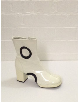 1960s Biba White And Black Circle Ankle Boots Fantasy Shoes 5 / 8