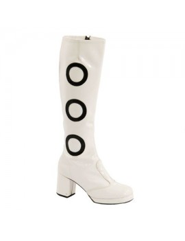 1960s Biba White And Black Circle Patent Boots Fantasy Shoes 8,6,5,4