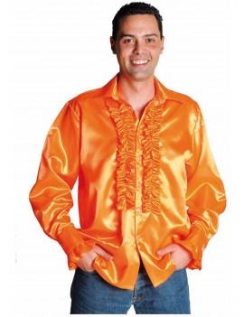 1970s Frilled Satin Adult Shirt Orange Magic By Freddys AC16C