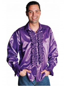1970s Frilled satin Purple mens 70s shirt fancy dress party costume accessory Magic By Freddys AC1B AC12C