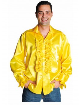 1970s Frilled satin yellow mens 70s shirt fancy dress party costume accessory Magic By Freddys AC16B