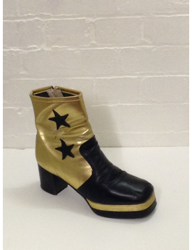 1970s Gold and black star mens platform zip up hire ankle boot Fantasy Shoes Lenny Star 10