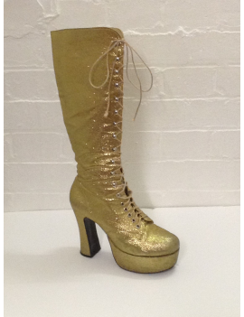 1970s Gold Glitter Platform Boots Fantasy Shoes 8
