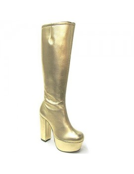 1970s Gold Platform Boots Fantasy Shoes 6