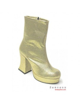 1970s Gold Platform Ankle Boots Lisa Cloud Fantasy Shoes 6