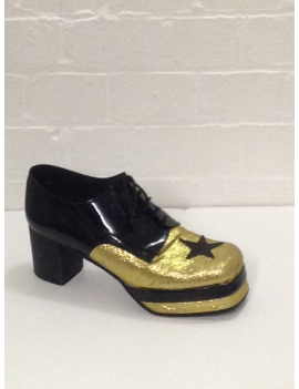 1970s Gold Black Glitter Platform Shoes Fantasy Shoes Luke UK 9