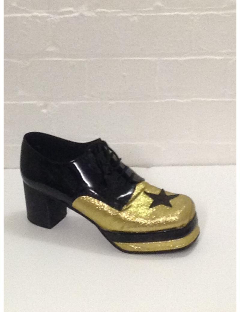 1970s Gold Black Glitter Platform Shoes Fantasy Shoes Luke UK 9