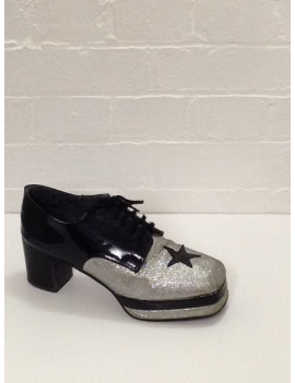 1970s Black Silver Glitter Platform Shoes Fantasy Shoes Luke UK 10
