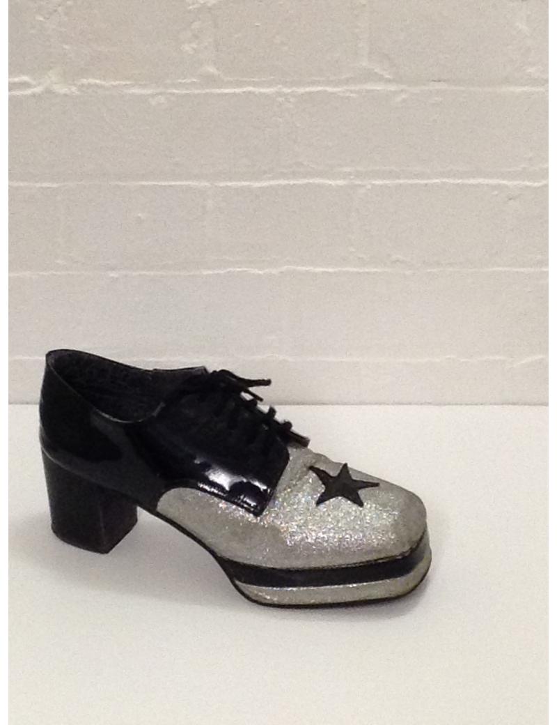 1970s Black Silver Glitter Platform Shoes Fantasy Shoes Luke UK 10