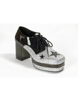 1970s Black Silver Glitter Platform Shoes Funtaisma UK 13