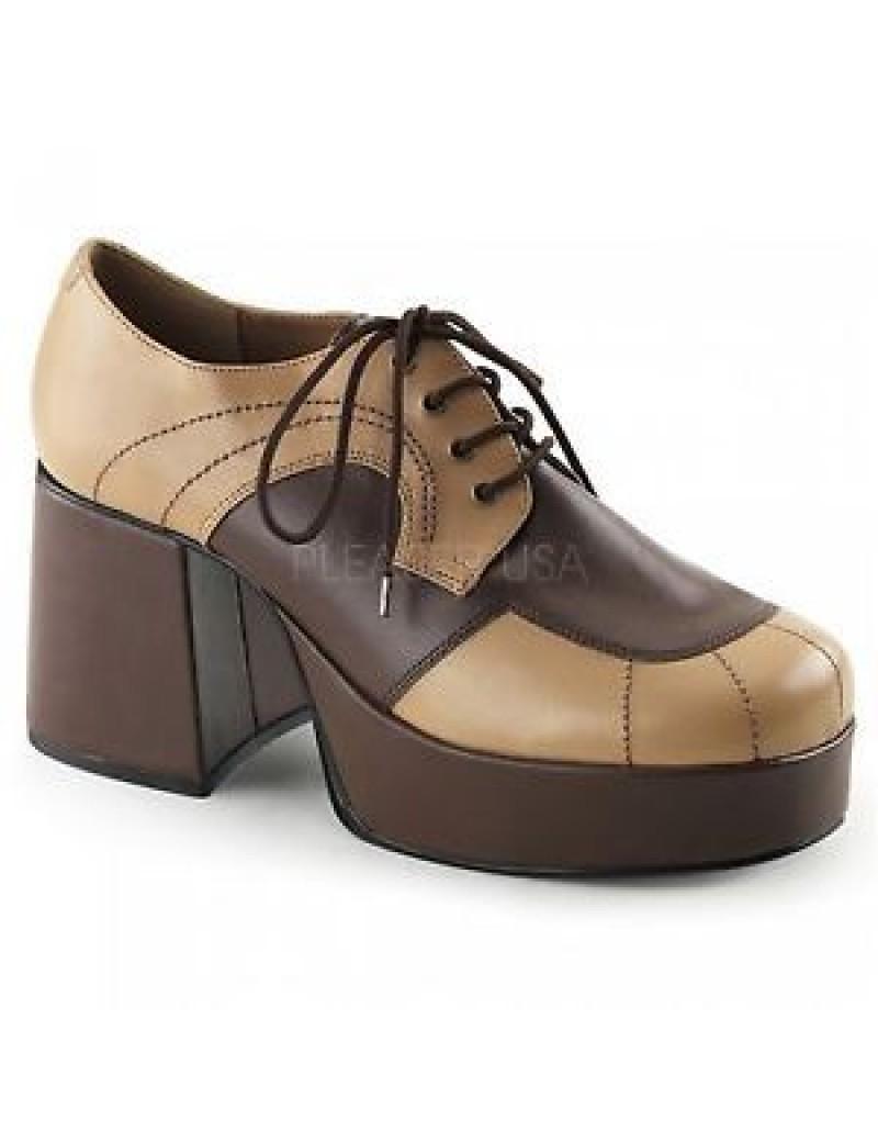 1970s Platform Shoe Two Tone Brown Jazz 06
