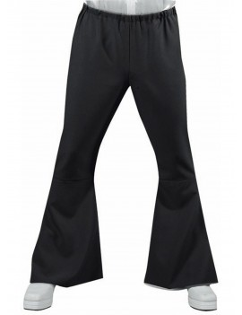 1970s mens elasticated black polyester flared trousers fancy dress party costume Freddys AE47B AE59