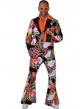 1970s mens multi coloured swirl flared retro stag suit fancy dress party costume Freddys EW10C