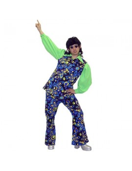 1970s mens multi swirl flared retro stag suit fancy dress party costume Make Believe AD22C