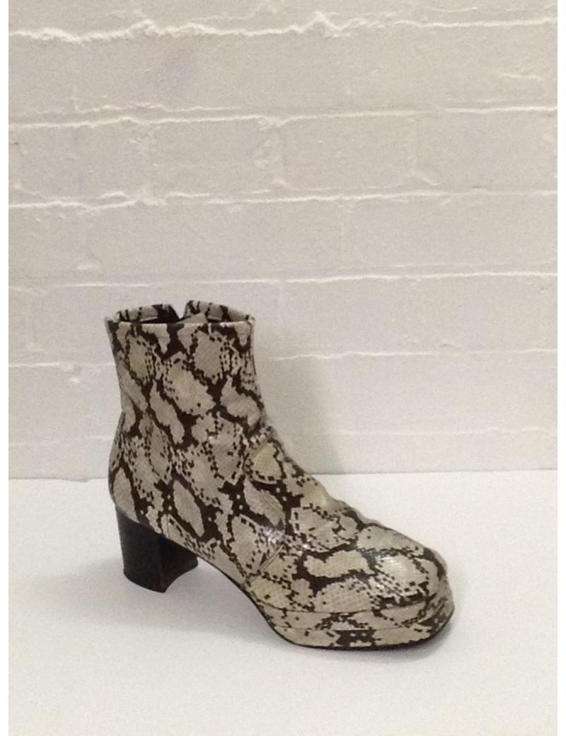 1970s Natural Snake Skin Print Platform Boots Fantasy Shoes Lenny 11