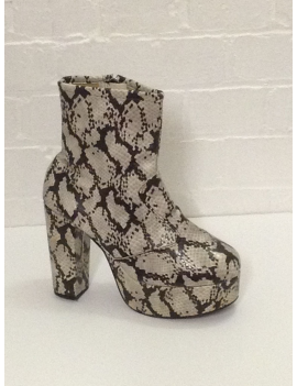 1970s Natural Snake Skin Print Platform Boots Fantasy Shoes Lisa UK 9