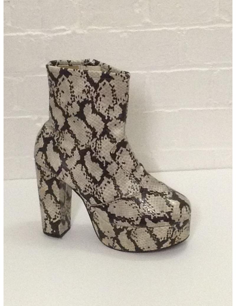1970s Natural Snake Skin Print Platform Boots Fantasy Shoes Lisa UK 9